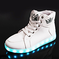 ユニセックス-カジュアル アスレチック-PUレザー-フラットヒール-幼児用靴 アンクルストラップ 靴を点灯 コンフォートシューズ-スニーカー-ブラック ホワイト