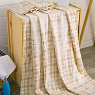 Knitted Blue/Apricot Jacquard Leaf 100% Cotton Blankets 150*200cm
