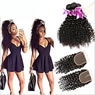 Trama do cabelo com Encerramento Cabelo Malaio Kinky Curly 6 meses 4 Peças tece cabelo