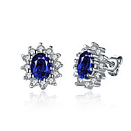 Stud Earrings Zircon Cubic Zirconia Copper Silver Plated Fashion Blue Jewelry Wedding Party Daily 1 pair