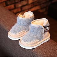 Girl's Boots Winter Comfort Suede Casual Flat Heel Black Pink Gray