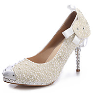Women's Heels Spring Summer Fall Winter Comfort Novelty Leather Wedding Party & Evening Stiletto Heel Crystal Heel Crystal Bowknot Pearl