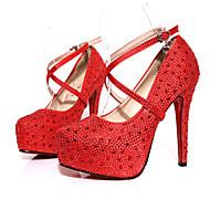 Feminino-Saltos-Plataforma-Salto Agulha-Vermelho / Branco-Tecido-Casamento