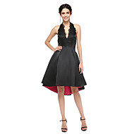 TS Couture® Cocktail Party Prom Dress - Little Black Dress Open Back A-line Halter Asymmetrical Satin with Appliques Pleats