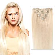 grampo em extensões do cabelo peruano retas 7/8 pcs remy clipe em pedaços de cabelo humano clipe de cabeça cheia de extensões de cabelo