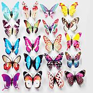 3d светящиеся красивые бабочки ПВХ искусства наклейки (цвета случайным Mix) (12 шт)