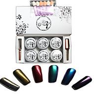 8 pçs / conjunto espelho pó pregos conjunto brilhante espelho prego decoração de unhas cromo pó manicure pigmento