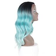 syntetické krajky hluboké neviditelné l část paruky černý kořen s zelená barva přírodní vlny ombre vlasy pro černé ženy