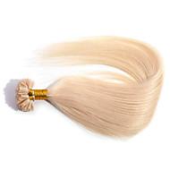 Anna u-tip előre kötött haj kiterjesztések olasz keratin ragasztó fúziós selymes, egyenes köröm tip haj 50g / csomó (0,5 g / szál)