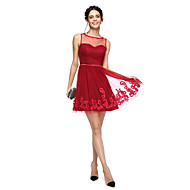 TS Couture Cocktail Party Prom Dress - Mini Me A-line Jewel Short / Mini Tulle with Appliques Bow(s) Sash / Ribbon
