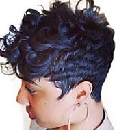 Συνθετικές Περούκες Χωρίς κάλυμμα Σγουρά Μαύρο Φυσική περούκα φορεσιά περούκες