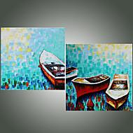 Ručně malované Krajina / Zátiší olejomalby,Moderní / Středomoří Dva panely Plátno Hang-malované olejomalba For Home dekorace