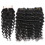 7A Brazilian Human Virgin Hair Deep Wave 4*4 Lace Closure With 3 Bundles Hair Weft