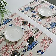 Прямоугольный Принты Салфетки-подстилки , Смешанная хлопковая ткань материал Отель Обеденный стол / Таблица Dceoration