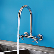 Wall Mounted Two Handles Two Holes with Chrome Kitchen faucet