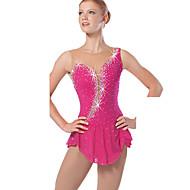 Ice Skating Dress Women's Sleeveless Snowsports Dresses Performance Spandex / Lace / Organza Crystals/Rhinestones / Ruffles 1 Piece  Red