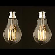 8W B22 LED žárovky s vláknem G60 8 COB 800 lm Teplá bílá Stmívací AC 220-240 AC 110-130 V 2 ks