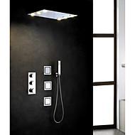 Σύγχρονο Ντουζιέρα Βροχή Εκτεταμένο Περιλαμβάνεται Τηλέφωνο Ντουζιέρας Θερμοστατικό LED with  Βαλβίδα Ορείχαλκου Τρεις λαβές πέντε τρύπες