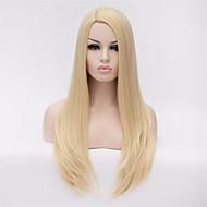 Moda Feminina peruca dourada cabelo reto longo naturais macios liu Haiguang alta temperatura fio peruca