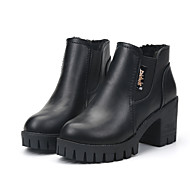 Women's Boots Fall Winter Other Leatherette Dress Casual Chunky Heel Others Black Burgundy