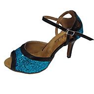 Obyčejné-Dámské-Taneční boty-Latina Slasa-Kůže Třpytky-Na zakázku-Černá + modrá