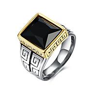 Ring Edelsteen Roestvast staal Titanium Staal Glas Modieus Zwart Sieraden Dagelijks Causaal 1 stuks