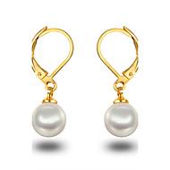 Perle Kreolen Schmuck Damen Mädchen Hochzeit Party Alltag Normal Perle Sterling Silber Platiert 1 Paar Schwarz Weiß
