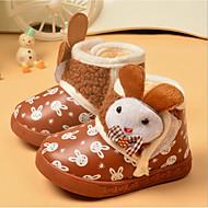 Barn Baby Støvler Første gåsko Annet dyreskinn Vinter Avslappet Første gåsko Sløyfe Flat hæl Brun Rød Under 2,5 cm