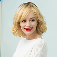 Short Curly Shaggy Inclined Bang Bob Human Hair Ombre Wig