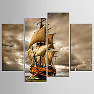 Canvas Set Abstract Landschap Klassiek Mediterraans,Vier panelen Canvas Elke vorm Print Art wall Decor For Huisdecoratie