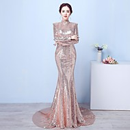 Formal Evening Dress - Beautiful Back Sparkle & Shine Sexy Trumpet / Mermaid High Neck Court Train Sequined with Sequins