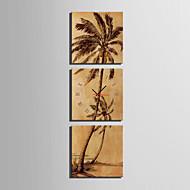MINI SIZE E-HOME Coconut Tree Clock in Canvas 3pcs