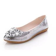 Dame Flate sko Komfort PU Høst Bryllup Komfort Gummi Flat hæl Gull Sølv Flat