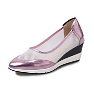 Women's Loafers & Slip-Ons Spring Fall Comfort Patent Leather Tulle Casual Wedge Heel Others Pink Silver Gray Walking