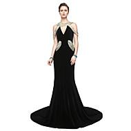 TS Couture® Formele avonden Jurk - Glitter & Sprankel Elegant Strak/kolom V-hals Tot de grond Fluweel met Plooien Pailletten
