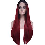 fekete gyökér szintetikus haj szál paróka, hosszú egyenes haj hőálló kétszínű ombre fekete / sötét bor szintetikus csipke első paróka