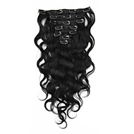 body wave clip in human hair extensions Maleisische virgin remy haar weeft clip ins