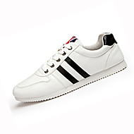 Men's Sneakers Spring Fall Comfort PU Casual Flat Heel Lace-up Black White Running