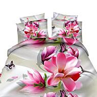 Цветы Пододеяльник наборы 4 предмета Полиэстер 3D Активный краситель Полиэстер Queen 4 шт. (1 пододеяльник, 1 простынь, 2 наволочки)
