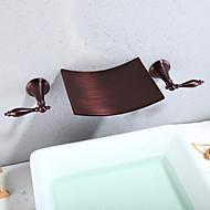 Moderne Vægmonteret Vandfald bred spary with  Keramik Ventil To Håndtag tre huller for  Olie-gnedet Bronze , Håndvasken vandhane