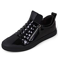 גברים-נעלי ספורט-עור-סוליות מוארות-שחור-שטח יומיומי-עקב שטוח