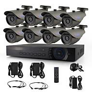 yanse® 8ch ахд комплект Видеорегистратор 720p камеры видеонаблюдения ИК 36LED пуля водонепроницаемый проводной системы безопасности