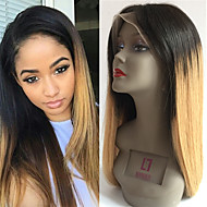 Női Emberi hajból készült parókák Remy Csipke eleje Tüll homlokrész 130% Sűrűség Egyenes Paróka Fekete / Medium BROWN / Strawberry Blonde