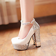 Women's Heels Spring Summer Fall Other PU Glitter Wedding Party & Evening Dress Chunky Heel Sequin Buckle Black White