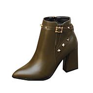 Bootsit-Leveä korko-Naisten-PU-Musta Vihreä-Ulkoilu Puku Rento-Muut Comfort