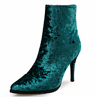 Women's Boots Club Shoes Novelty Leather Velvet Office & Career Party & Evening Dress Casual Stiletto Heel Zipper Black Green Gray Almond