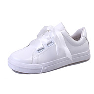 Women's Athletic Shoes Spring Comfort PU Outdoor Flat Heel Lace-up White Walking