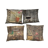 Set of 4 Retro coffee pattern pattern  Linen Pillowcase Sofa Home Decor Cushion Cover