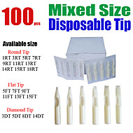 Solong Tattoo 100 x Disposable Tattoo Tips White Color Assorted Mixed Size TP402-100