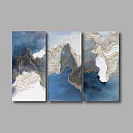 Stretched Canvas Print Three Panels Canvas Wall Decor Home Decoration Abstract Modern Dark Blue